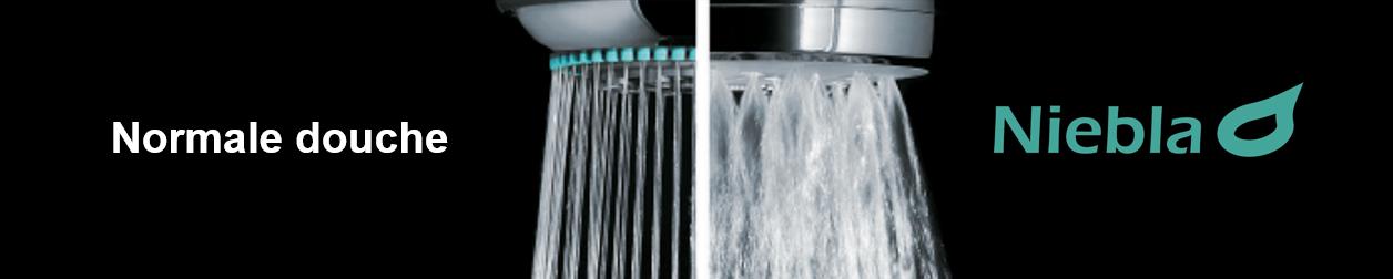 Vergelijking tussen normale douchekop en waterbesparende douchekop