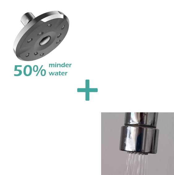 waterbesparende inbouw douche 5 L min plus waterbesparende kraan