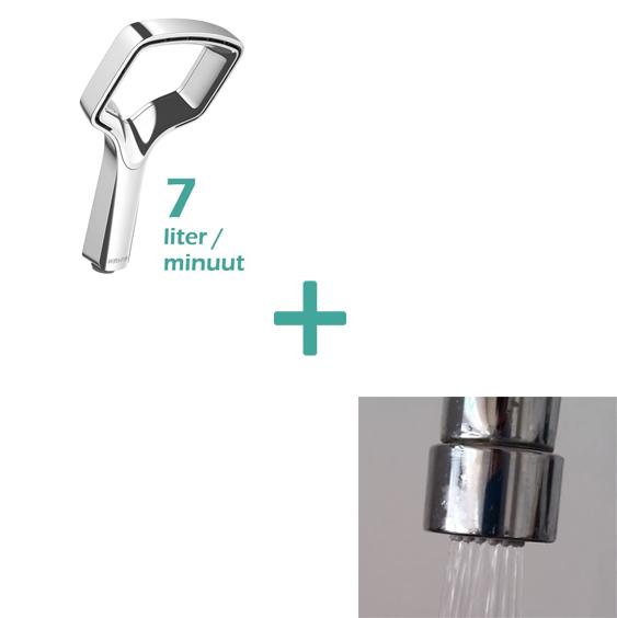 waterbesparende-handdouche design 7 l min plus waterbesparende kraan