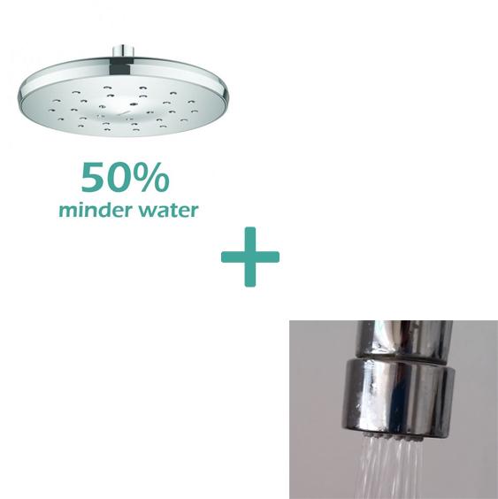 waterbesparende regendouche rond 9 l m plus waterbesparende kraan